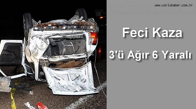 Otomobil Takla Attı, 3'ü Ağır 6 Yaralı
