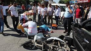 Otomobil Elektrikli Bisikletle Çarpıştı, 1 Yaralı