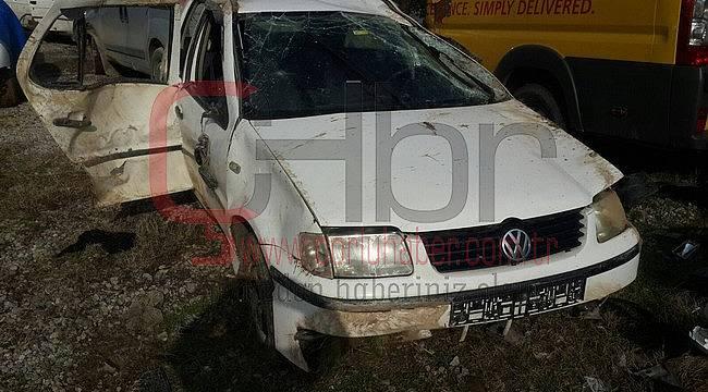 Takla Atan Aracın Altında Kalan Sürücü Ağır Yaralandı