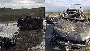 Takla Atan Otomobil Tarlaya Uçtu, 1 Yaralı