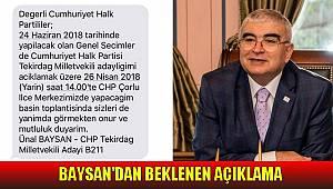 Başkan Baysan'dan Adaylık Mesajı
