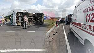 İşçi Servisi Kaza Yaptı, 3'ü Ağır 19 Yaralı