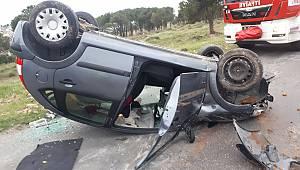 Kontrolden Çıkan Otomobil Takla Attı, 1 Yaralı
