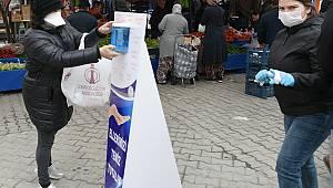 Lapseki'deki Halk Pazarında Koronavirüs Tedbirleri