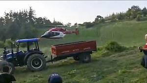 Ambulans Helikopter Traktör Kazasında Yaralanan Genç İçin Havalandı