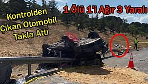 Kontrolden Çıkan Otomobil Takla Attı, 1 Ölü 1'i Ağır 3 Yaralı