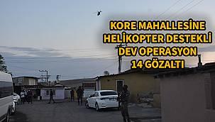 Kore Mahallesi'ne Helikopter Destekli Dev Operasyon, 14 Gözaltı