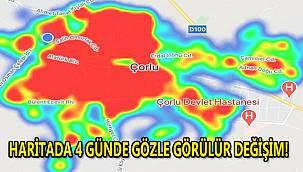 Çorlu'da Korona Vakaları Artıyor! Haritada 4 Günde Gözle Görülen Değişim
