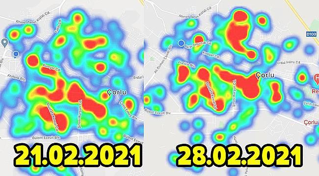 Çorlu'da Koronavirüs Haritası 7 Günde Değişti