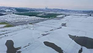 Soğuk Hava Nedeniyle Nehir Kenarındaki Tarlalar Buz Tuttu