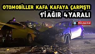 Virajda Otomobiller Kafa Kafaya Çarpıştı, 1'i Ağır 4 Yaralı