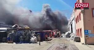 Ergene'de Geri Dönüşüm Fabrikasında Yangın