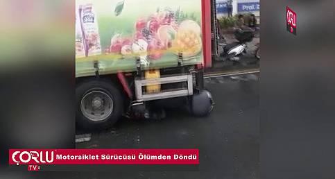 Motorsiklet Sürücüsü Ölümden Döndü