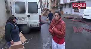 Çorlu'da Şiddetli Rüzgar Etkisini Gösterdi