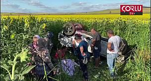 Kontrolden Çıkan Otomobil Tarlaya Uçtu, 2 Yaralı